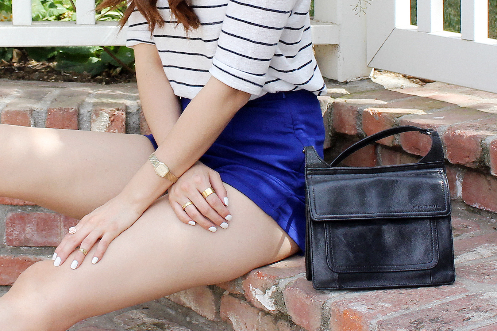 Vintage Omega watch, Gold jewelry from Artists & Fleas, Fossil Crossbody Bag, Rose ring from Forever 21