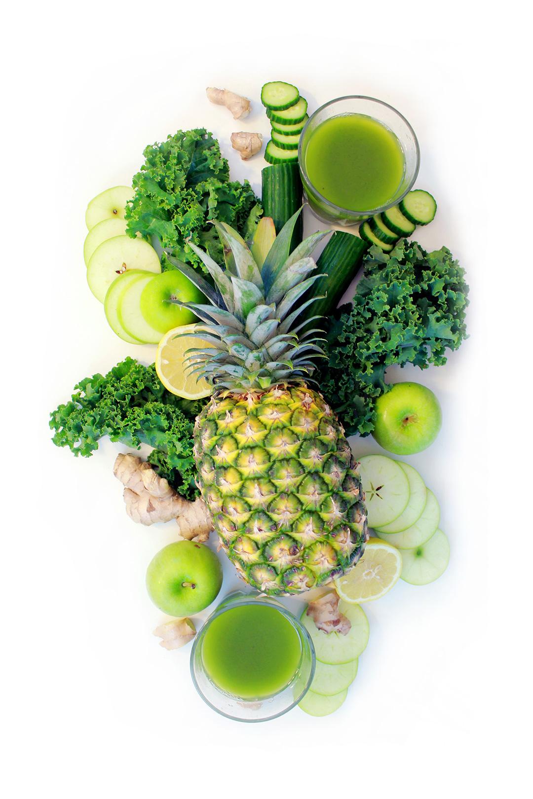 Pineapple Green Juice Flat Lay!