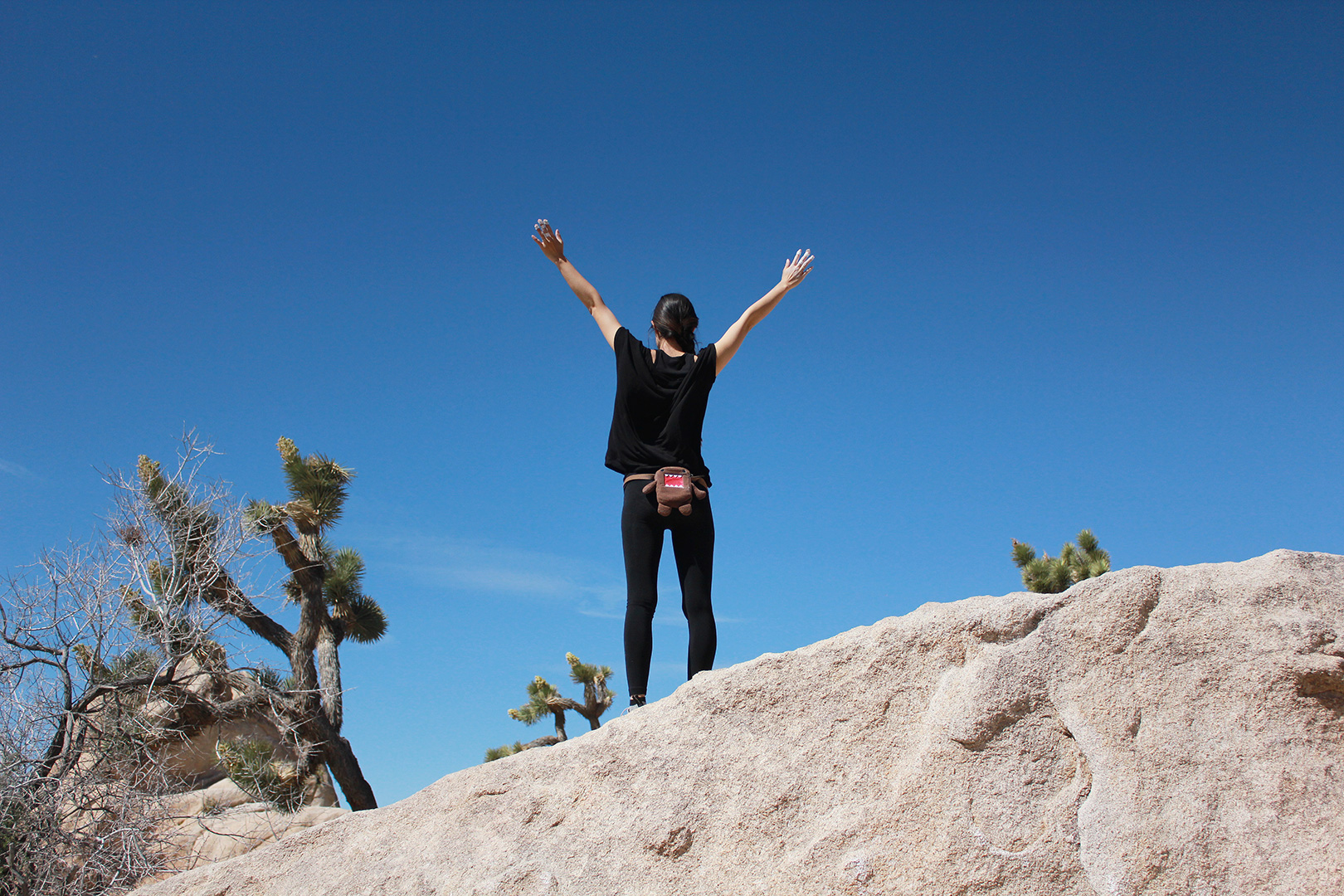 Celebrating after finally finishing a traverse climb on the third try. Yay! Oh and hi to my Domo Chalk Bag!