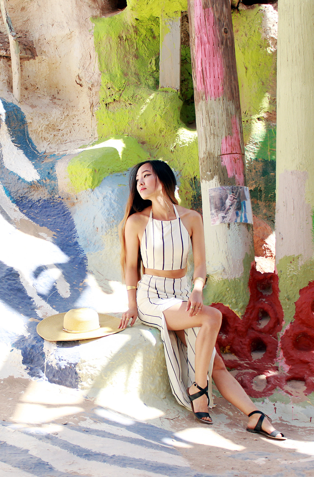Enjoying the soft shadow play inside Salvation Mountain. Dress by Tobi, J. Crew sandals, Nine West hat, Madewell cuff bracelets