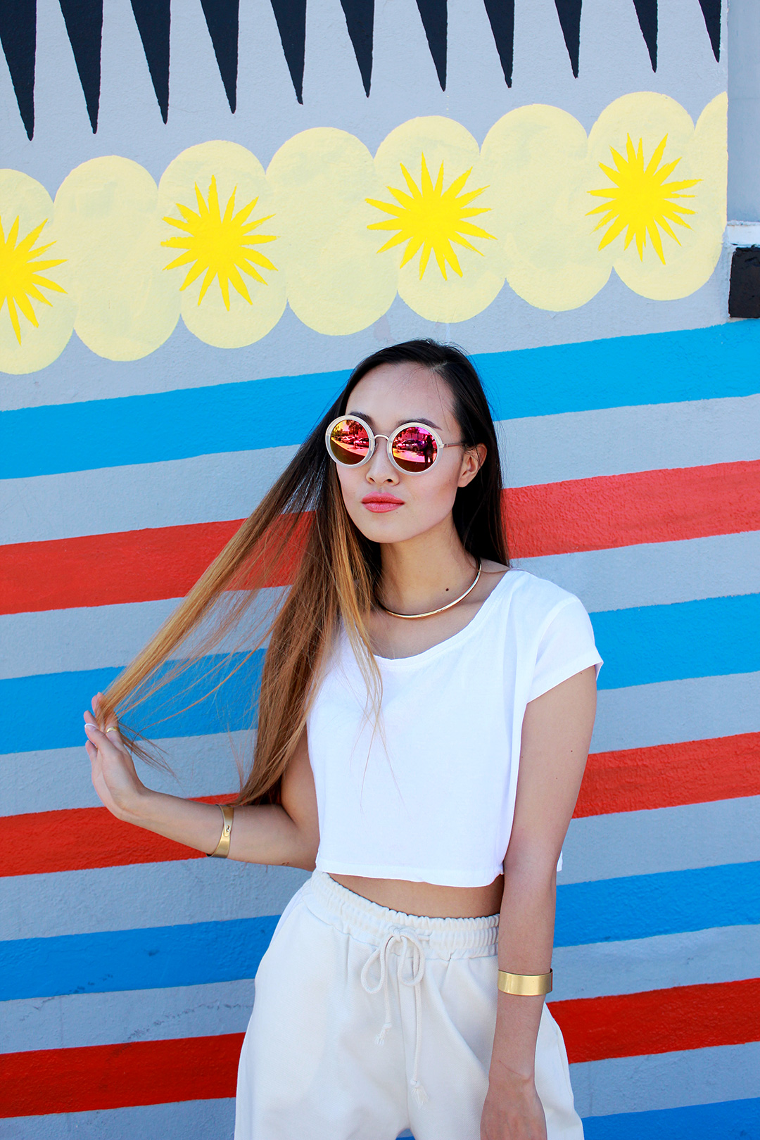 Stylenanda sunnies, Zara crop top and necklace, Madewell bracelets