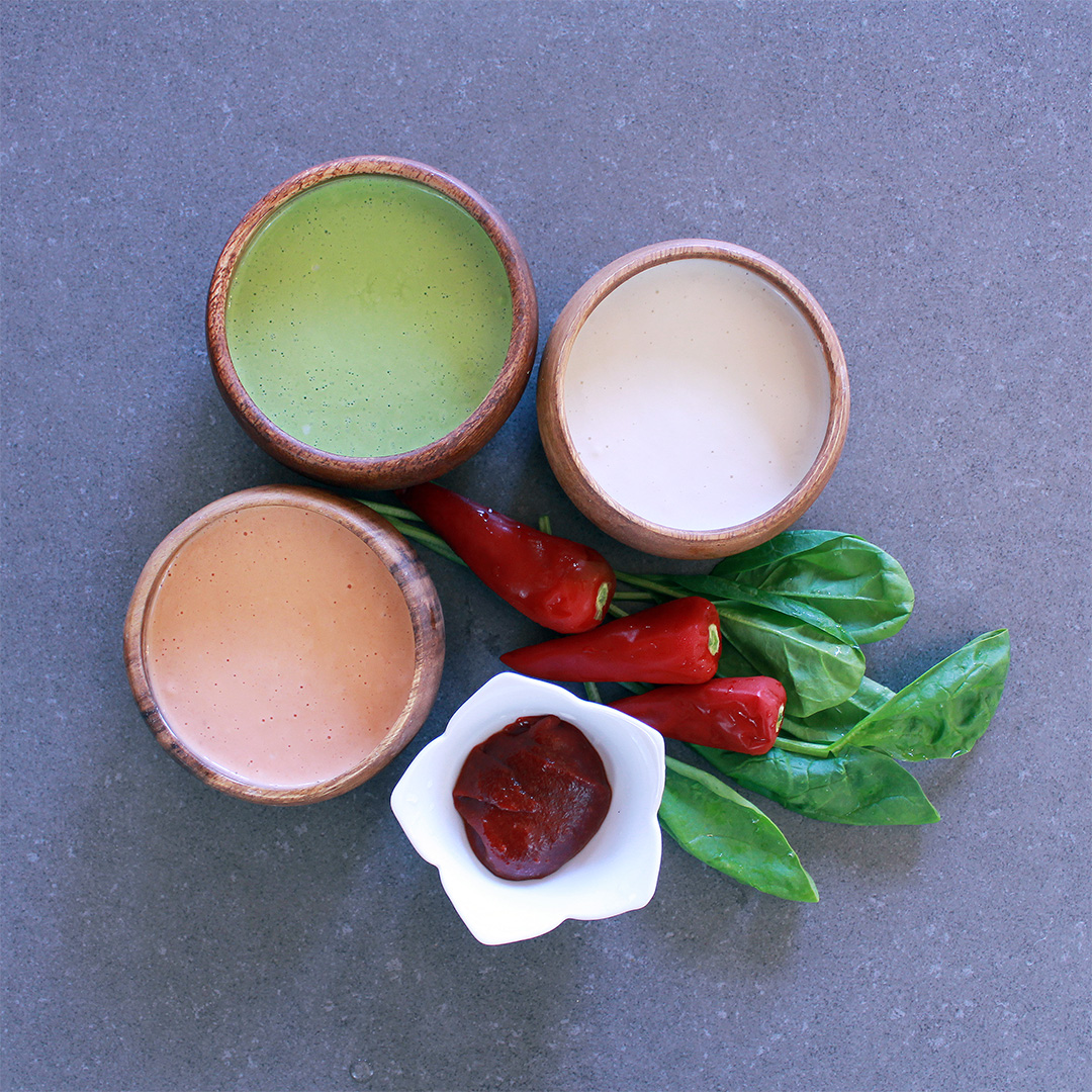 Here are three different colors for the jeon, or flour pancake wraps: white (made from flour), green (flour and spinach juice), and red (flour and gochujang paste).