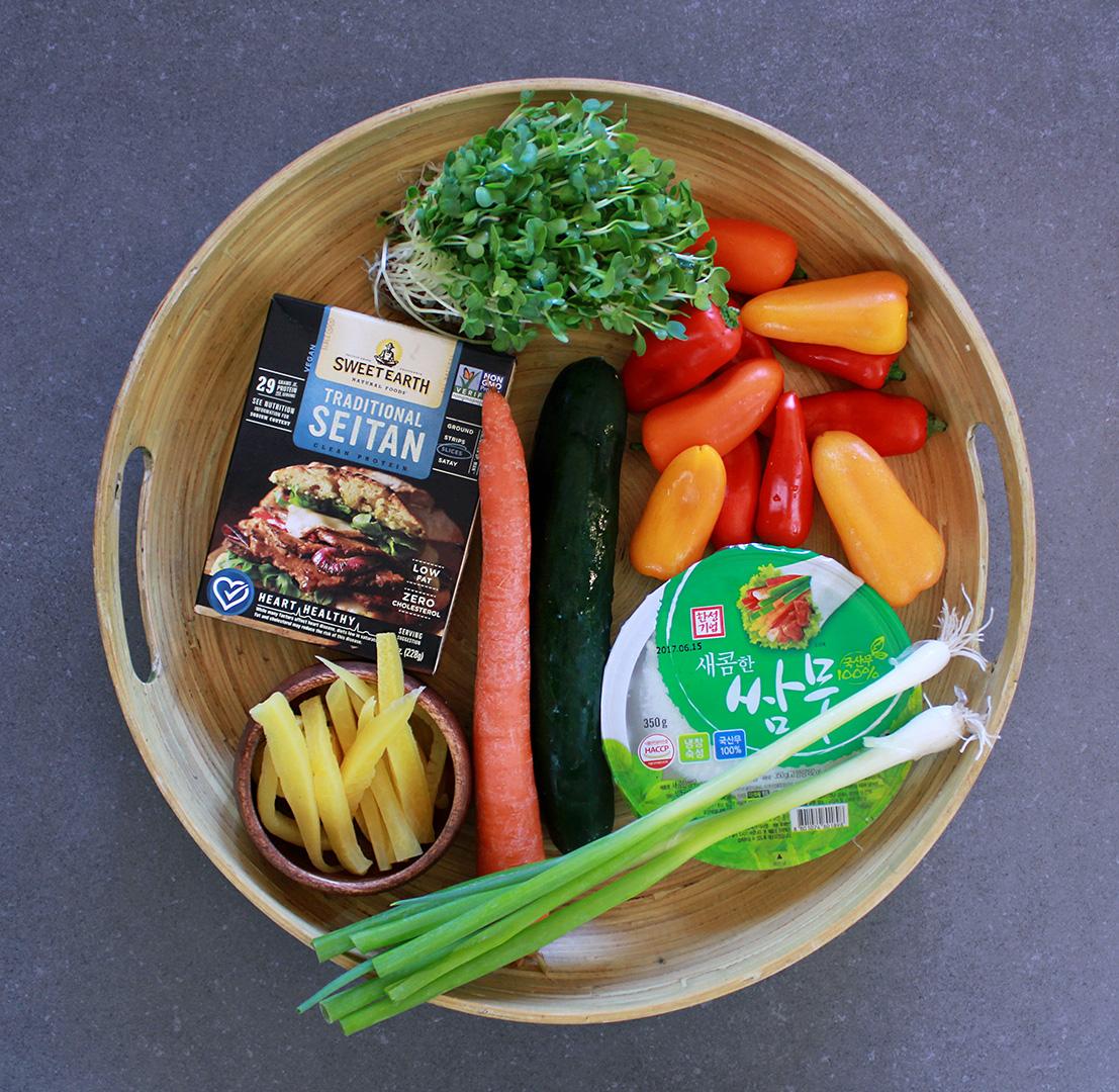 Tray of vegetarian ingredients prepping for the Korean Ssam Mu Radish Wrap.