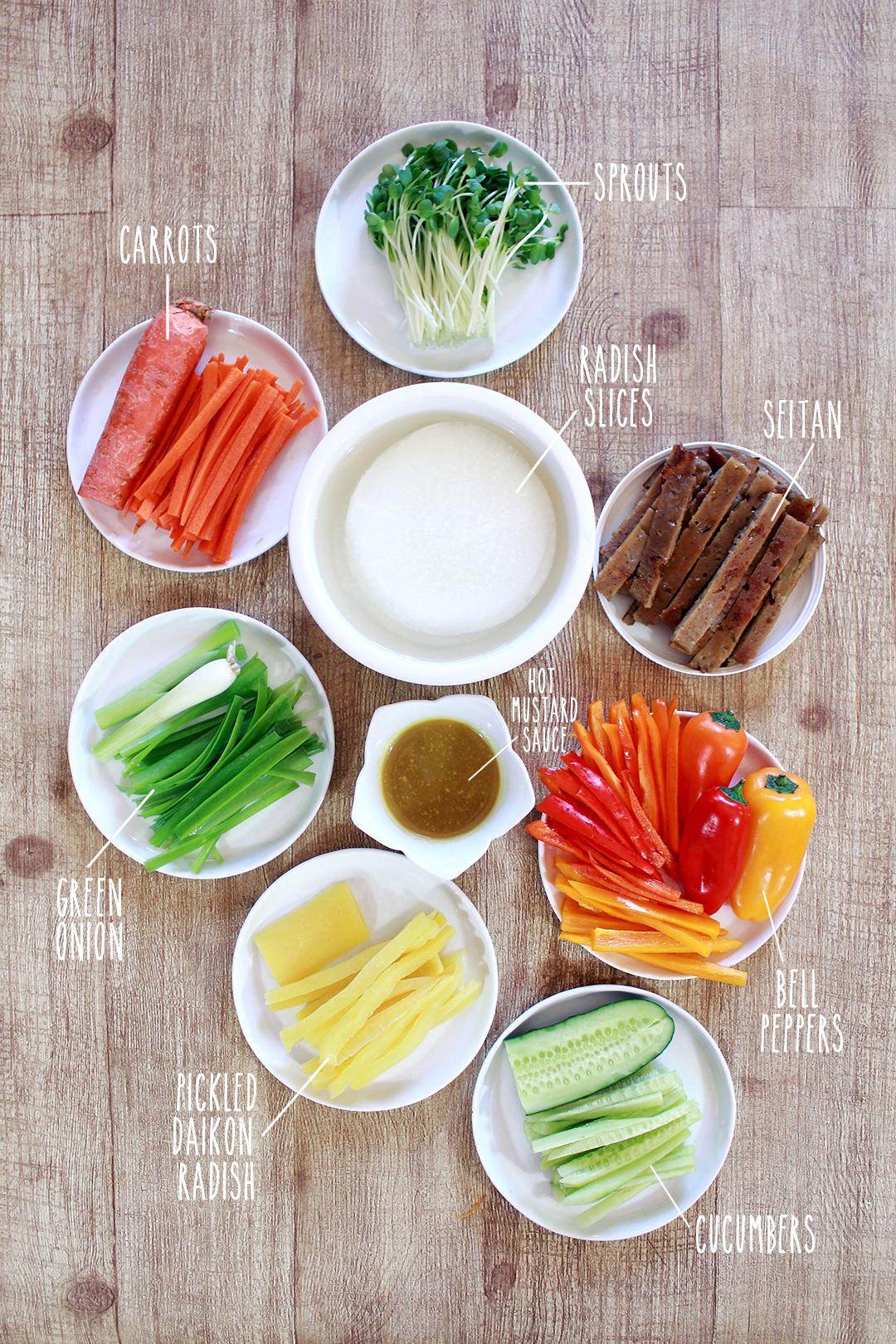 Prepped ingredients for the Korean Ssam Mu Radish Wrap!