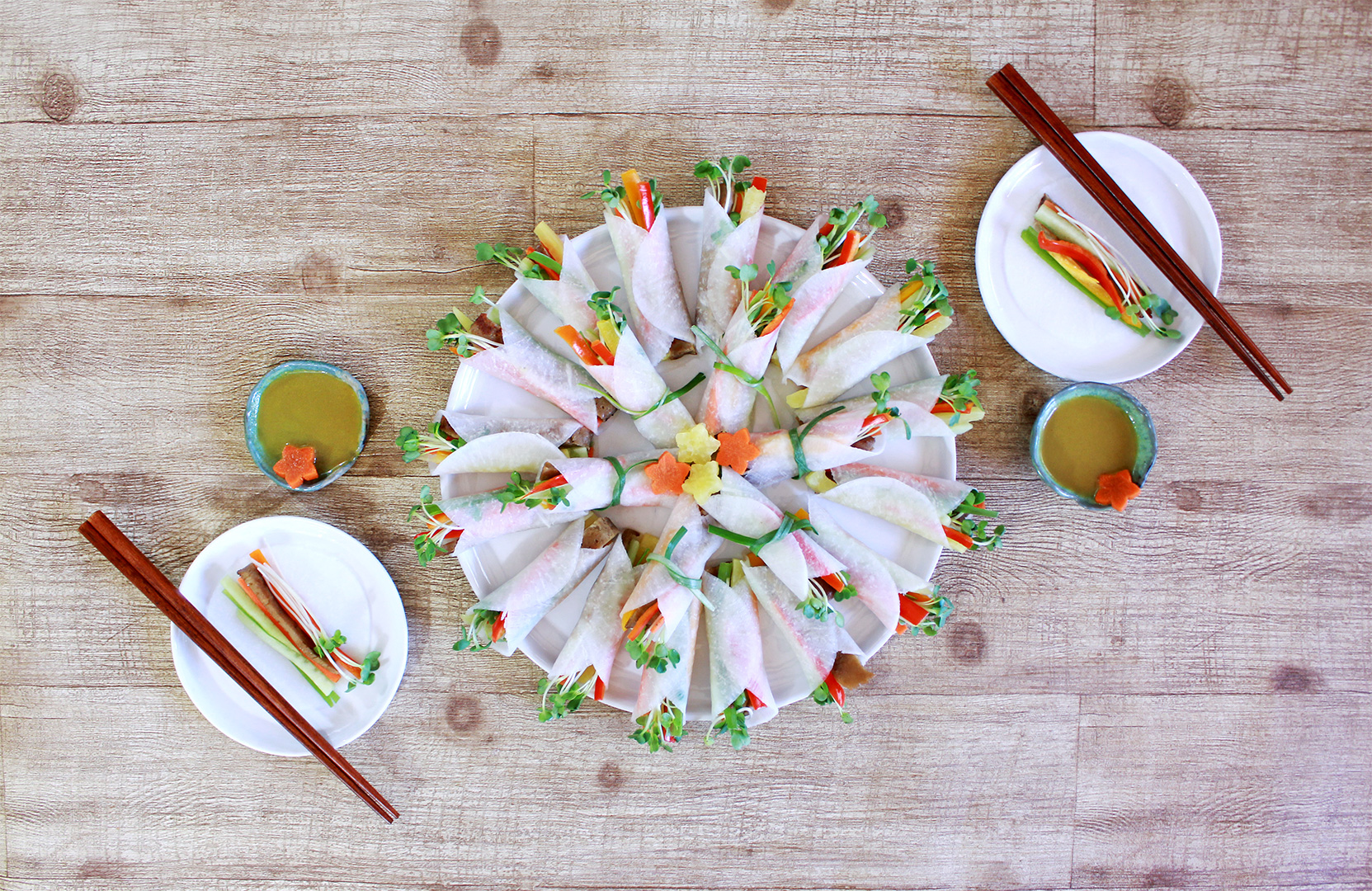 The Korean Ssam Mu Radish Wrap is a delicious and healthy appetizer or light meal balancing savory vegetables and the tang of vinegar and spicy mustard sauce!