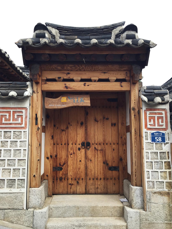 Beautiful traditional doors in Bukchon Hanok Village.