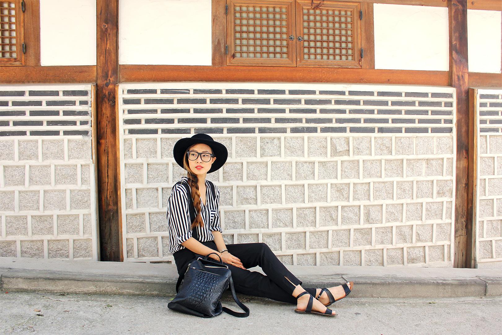 Tobi overalls, Stylenanda hat, Zara shirt, J.Crew sandals