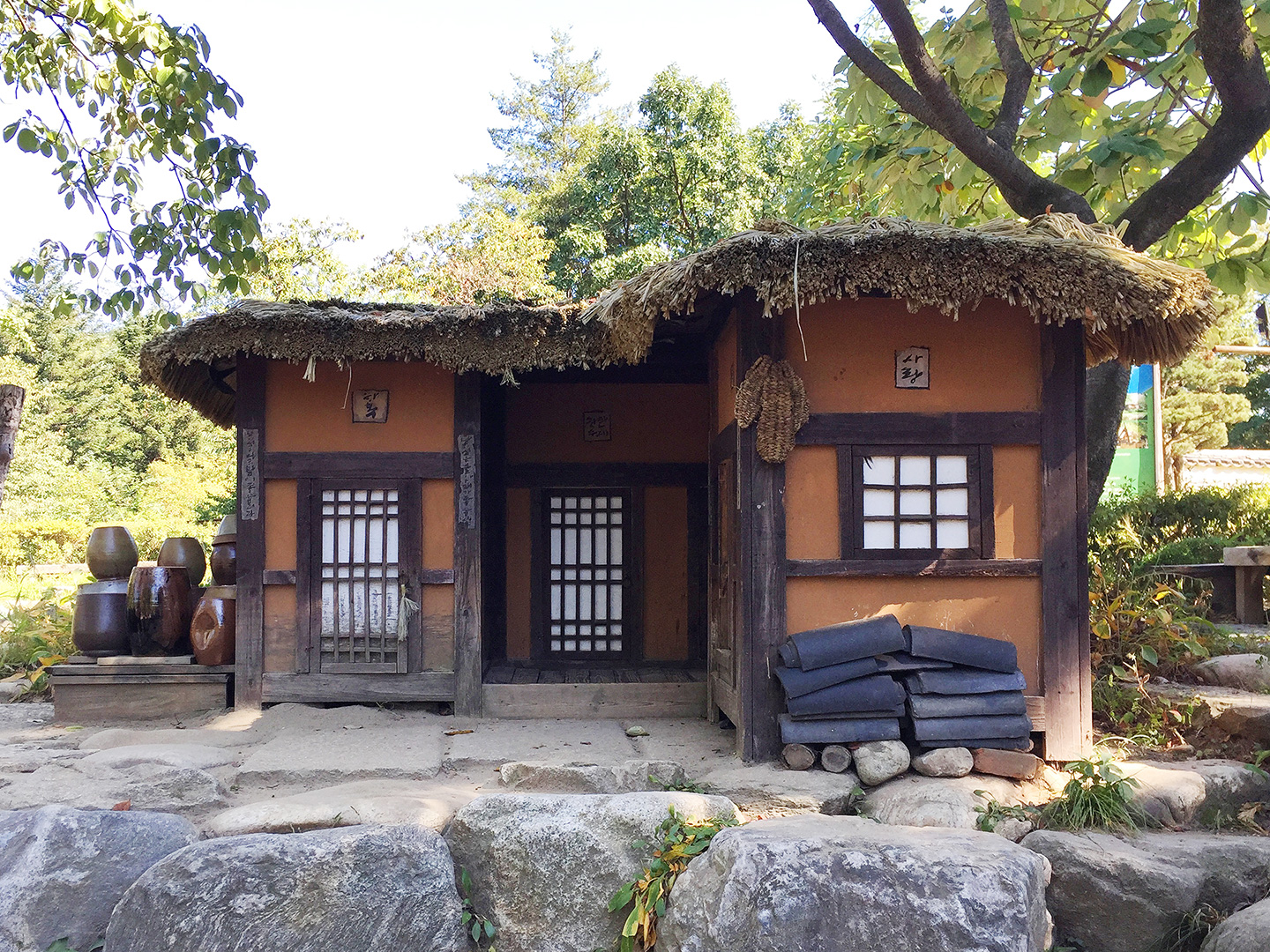 Miniature sized examples of less prehistoric, yet still traditional Korean architecture.