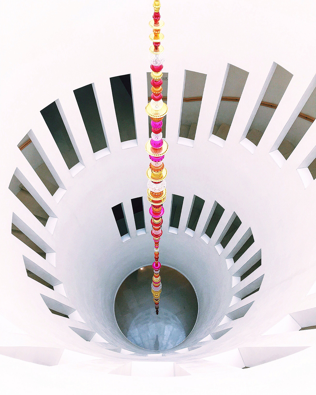 "Spiral staircase by architect Mario Botta Art installation ""Alchemy"" by Choi Jeong Hwa"