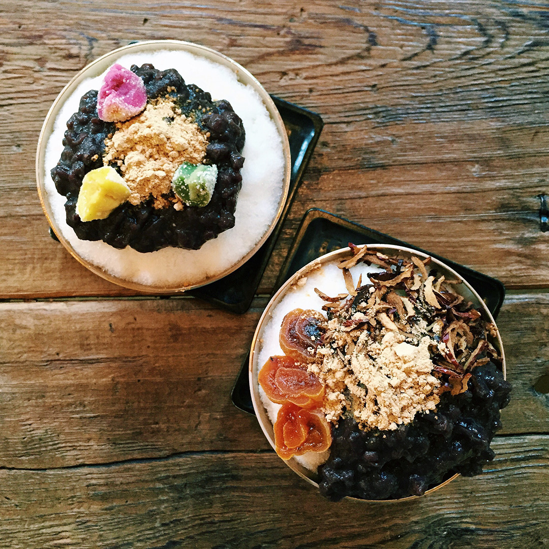 One of my favorite Korean desserts is the pat bing soo, or red bean shaved ice. The toppings can vary from fruit, rice cakes, nutsI got these from the cutest traditional cafe in Insadong.