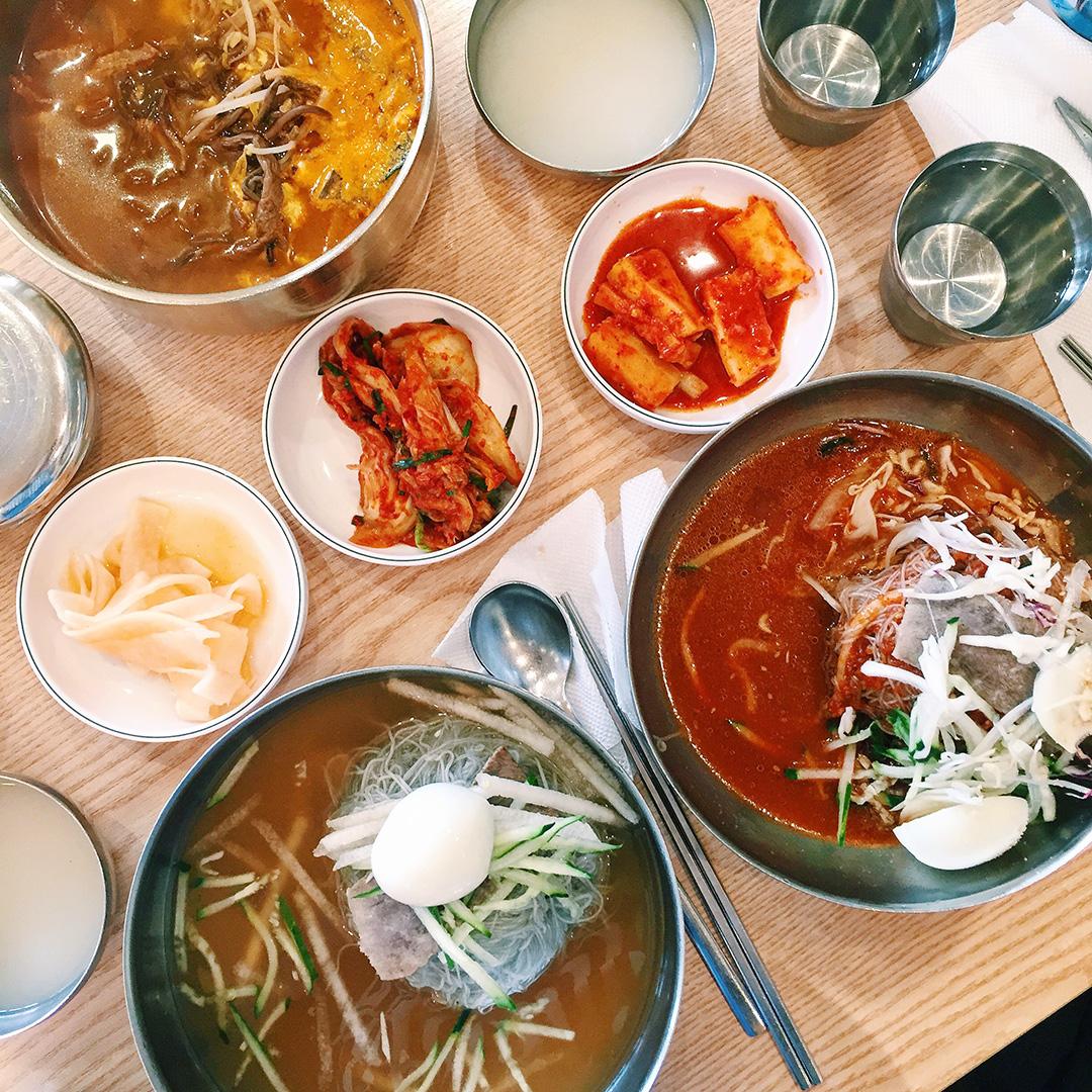 Insa Myeonok (인사면옥) in Insadong  Info: This noodle place is known for its Pyeongyang style (North Korean style) naengmyun. Yum! Dishes: Yookgyejang (육계장), Bibim Naengmyun (비빔냉면), Naengmyun (물냉면) Address: 196-8 Gwan Hoon-dong, Insadong, Jongro-Gu, Seoul  인사동 · 서울시 종로구 관훈동 196-8   Website