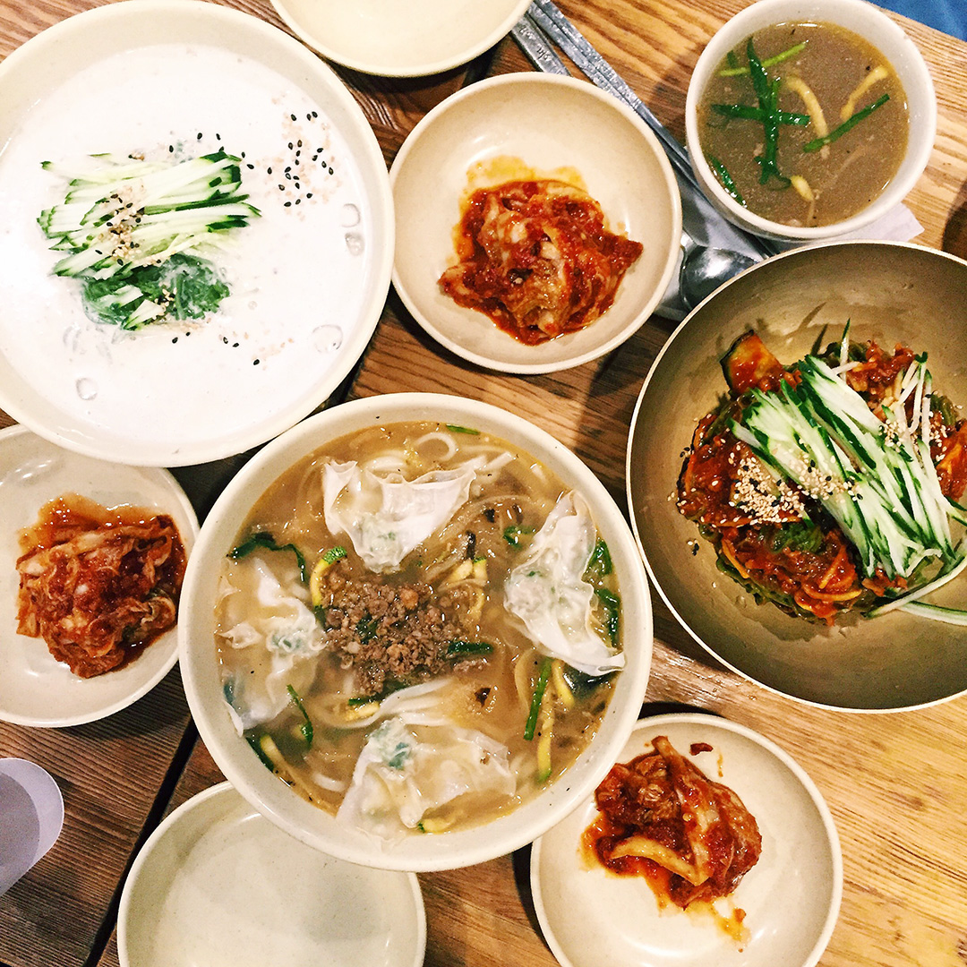 Myeongdong Kyoja  (명동교자) in Myeongdong  Info: This location is the original of the Myeongdong Kyoja chain, and has been around for over 40 years. Definitely try the knife-cut noodles and mandoo! Dishes: Konguksu (콩국수), Bibim Naengmyun (비빔냉면), Kalguksu Knife Cut Noodles (칼국수) Address:29, Myeongdong 10-gil, Jung-gu, Seoul  서울특별시 중구 명동10길 29 (명동2가)   Website