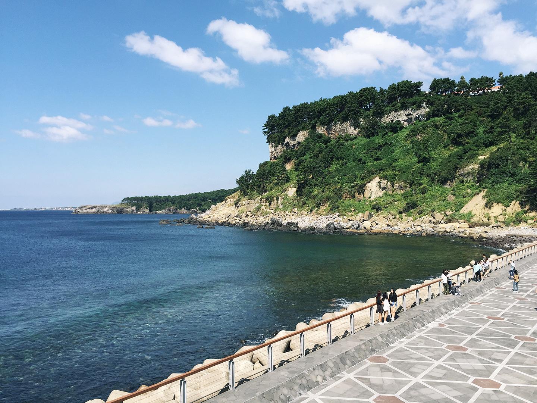 Walking along the Seogwipo Port.