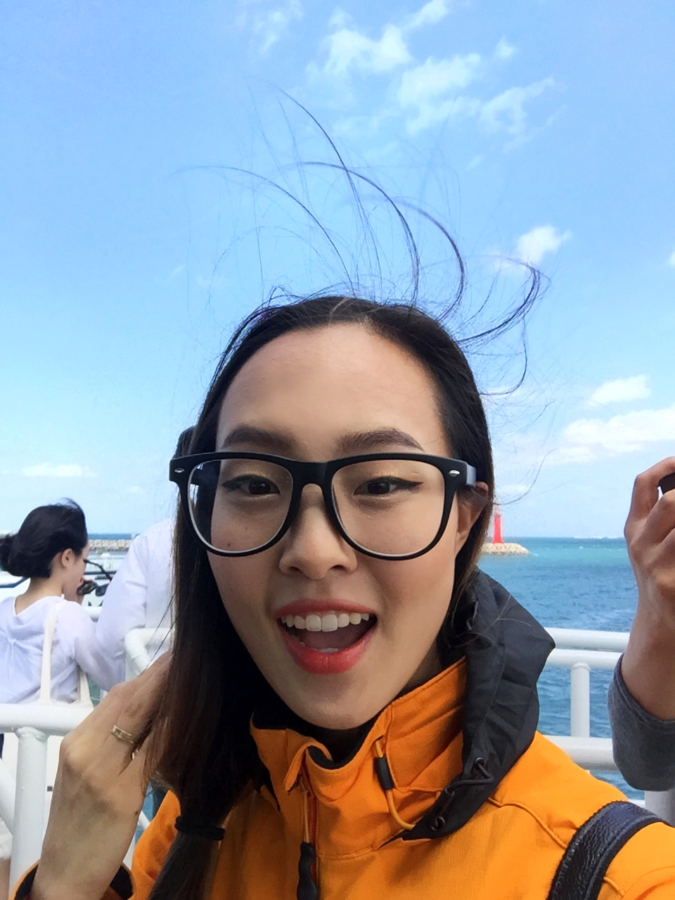 It was super windy on the ferry to Udo Island!