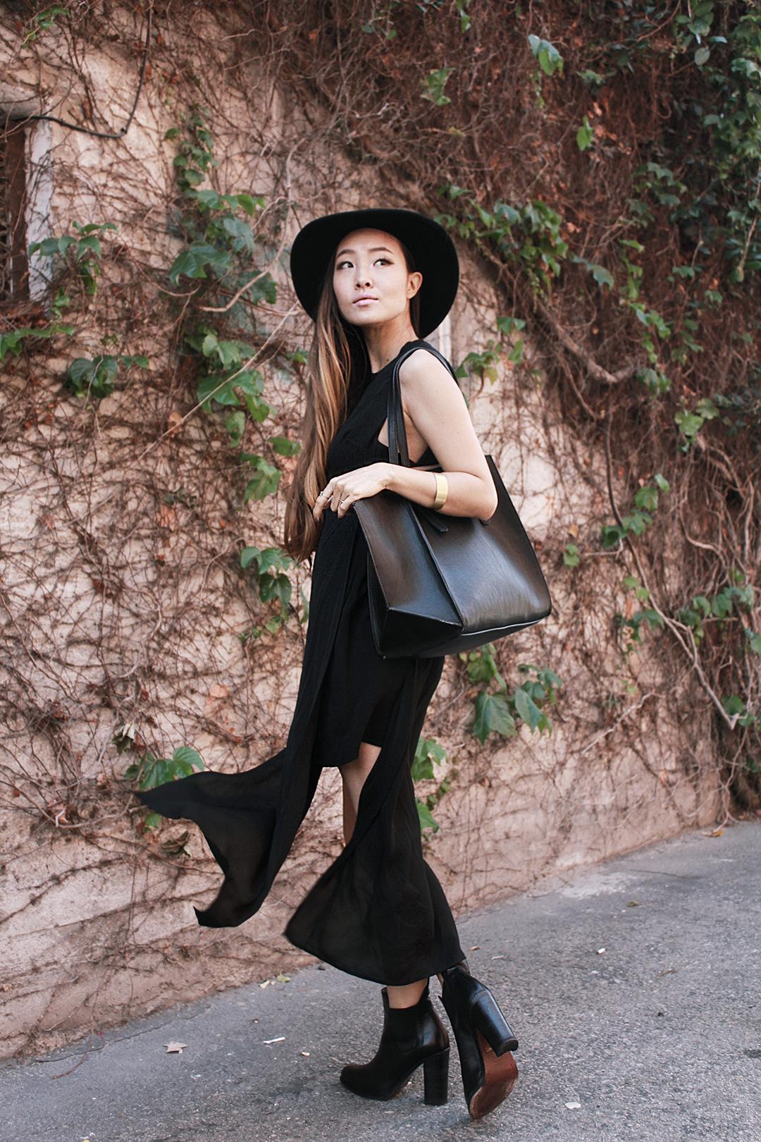 Stylenanda hat, A.L.C. dress, Zara bag, Rag & Bone boots, Madewell bracelets