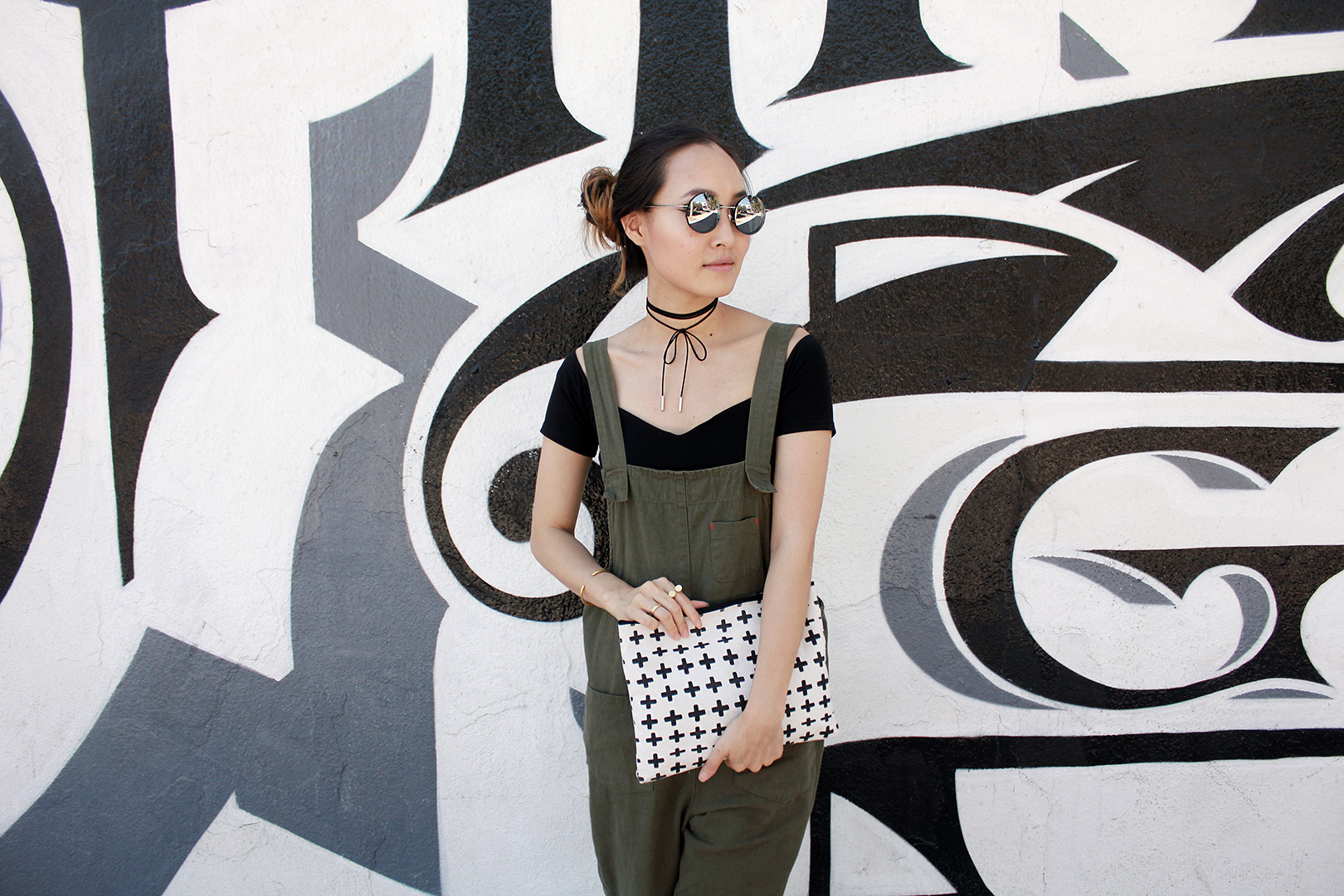 Sunglasses from Nasty Gal, choker necklace from Kavano, crop top from ASOS, overalls from Seoul, clutch from Butter