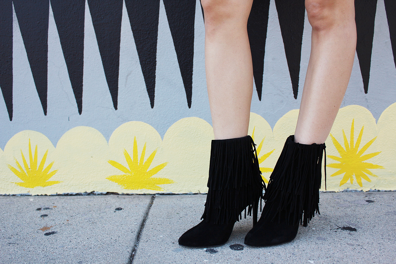 Fringe booties from Zara are so fun to walk in!