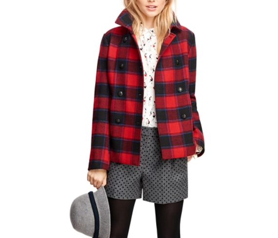 Brooks Brothers Wool Double-Breasted Buffalo Check Coat