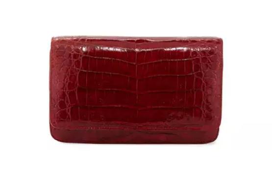 Nancy Gonzalez Crocodile Clutch Bag with Strap, Red