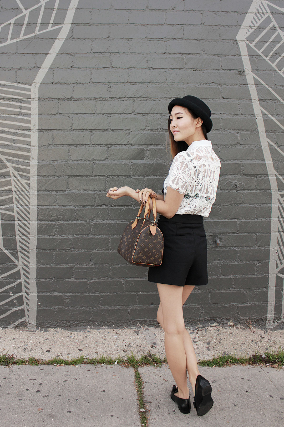 Nasty Gal lace blouse, Urban Outfitters hat, Zara high-waisted shorts, and Zara loafers
