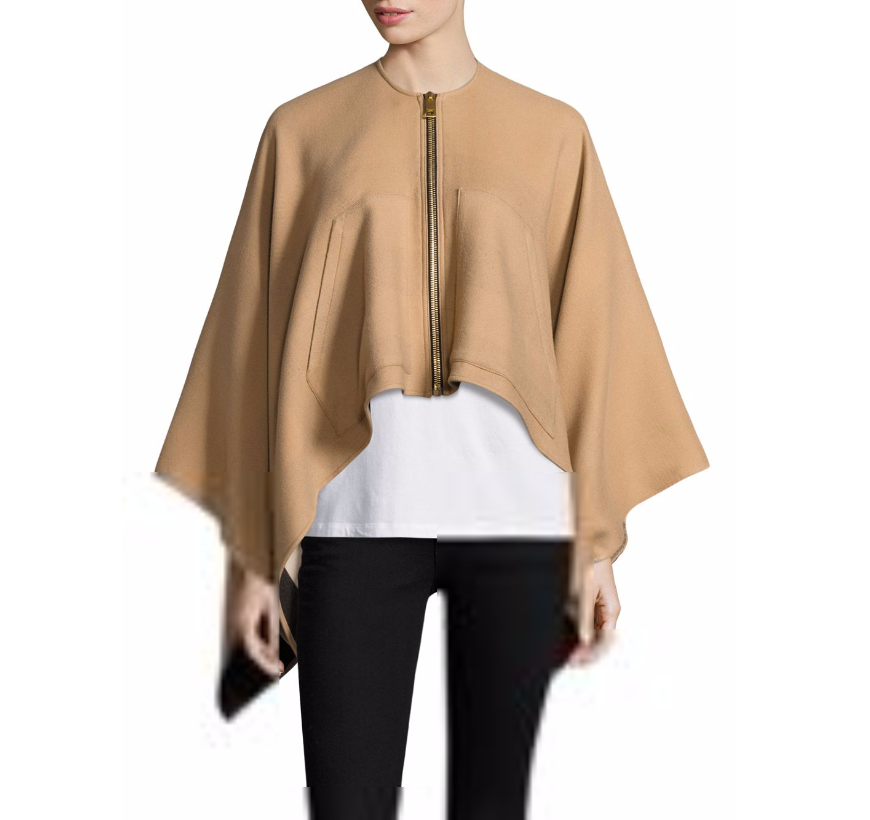 Burberry Merino Wool Zip Poncho
