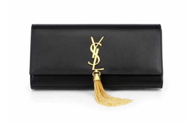Saint Laurent Cassandre Leather Tassel Clutch