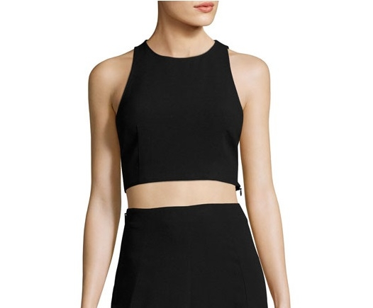 Theory Nikayla Crepe Crop Top, Black