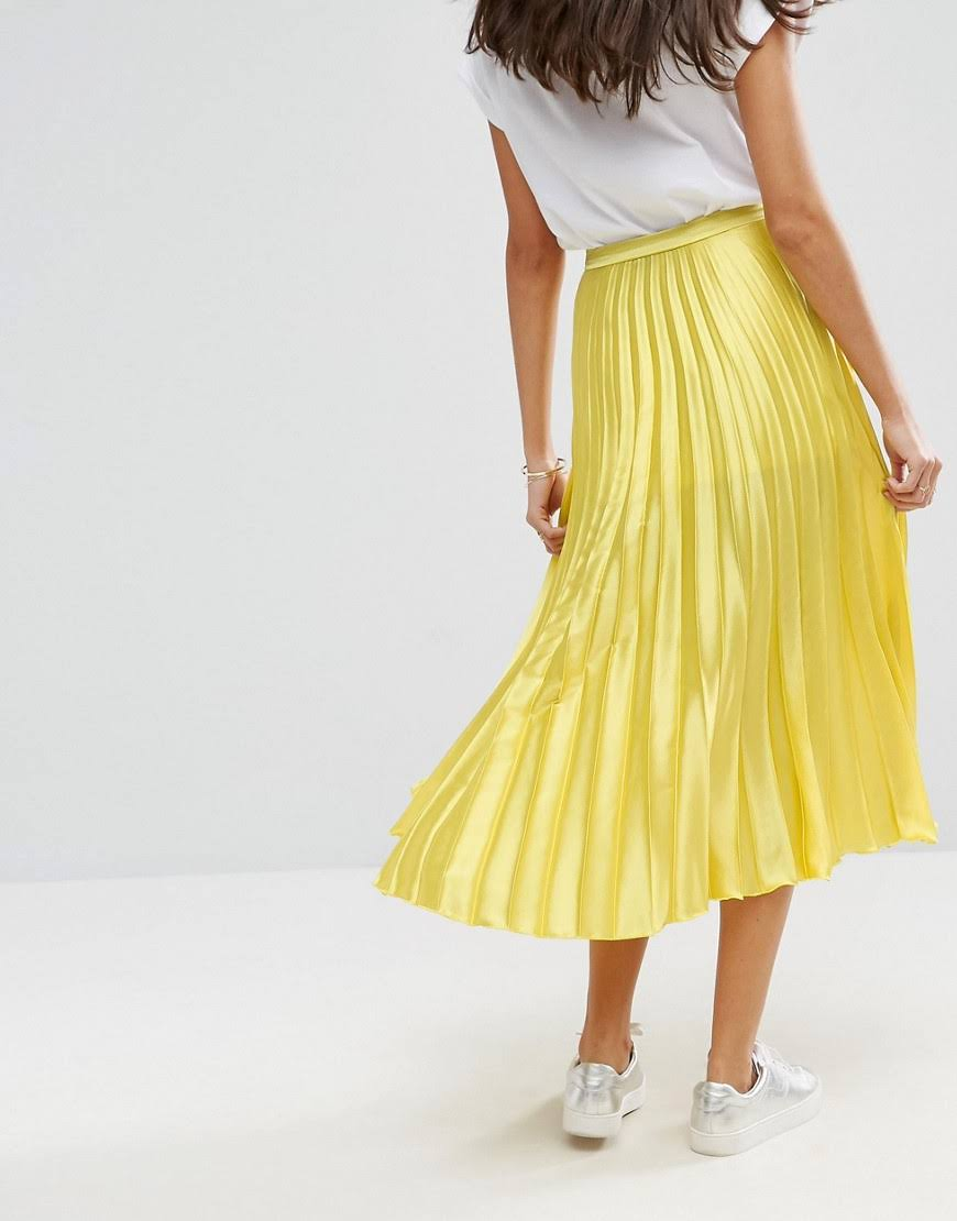 ASOS Satin Pleated Midi Skirt with Thigh Split