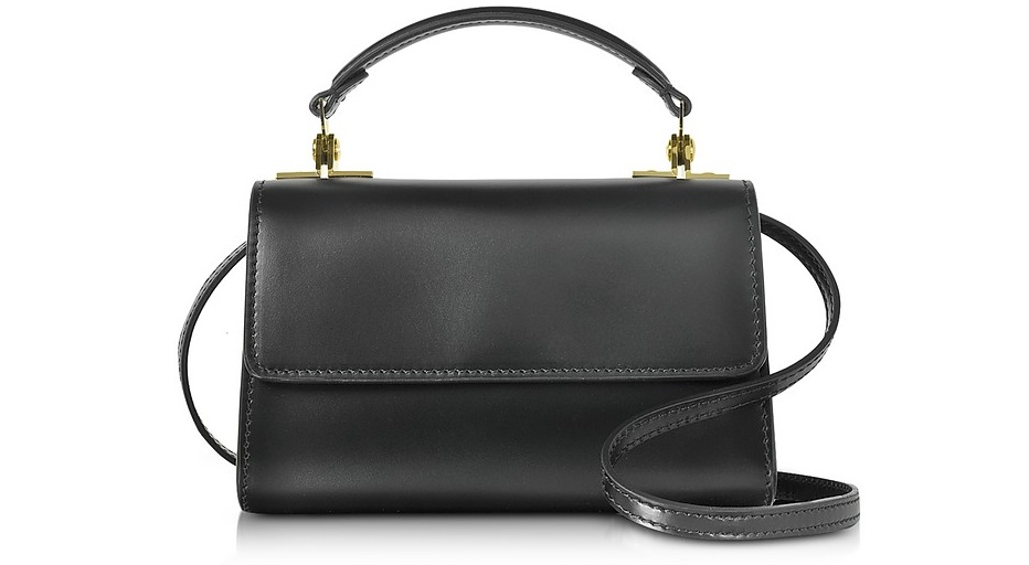 SOPHIE HULME Black Leather Parker Nano Crossbody Bag