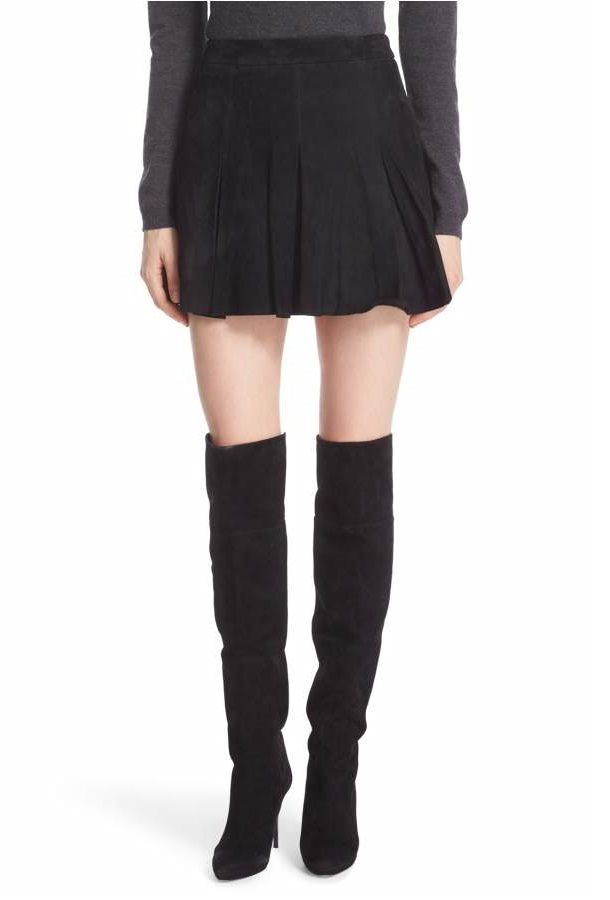 Alice & Olivia 'Lee' Pleated Suede Skirt