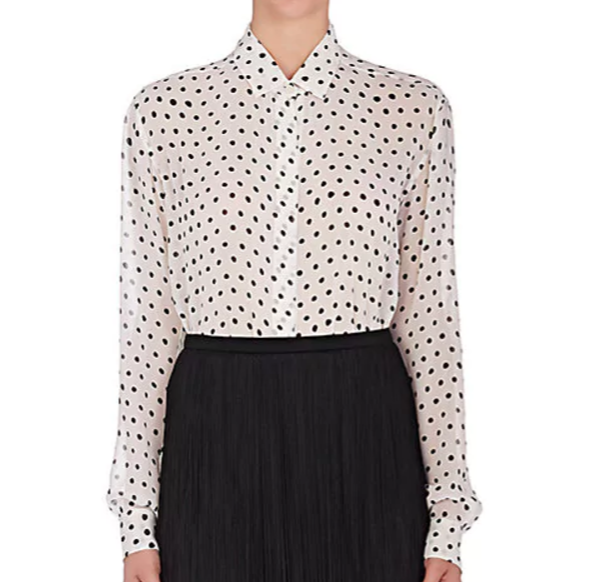 SAINT LAURENT Polka Dot Silk Blouse
