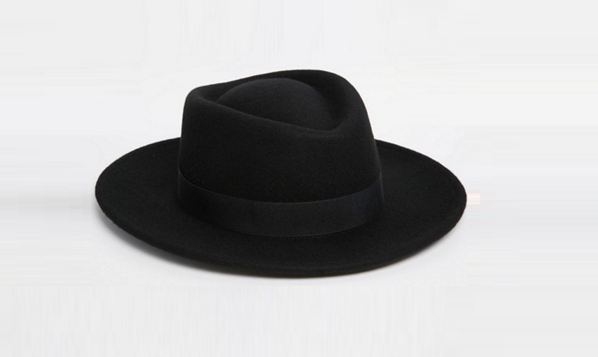 ASOS Pork Pie Hat in Black With Diamond Crown