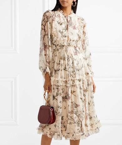 ZIMMERMANN Maples Frill ruffled printed crinkled silk-georgette midi dress