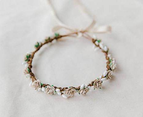 kisforkani beige floral hair wreath headpiece