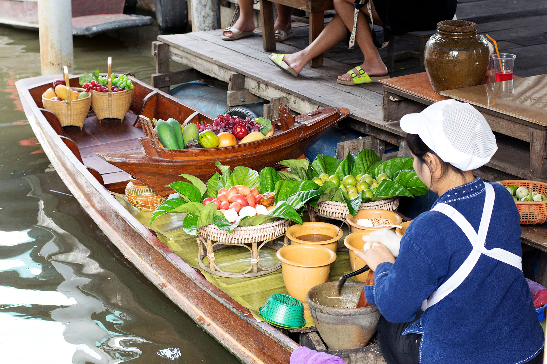 Love the beautiful fruit arrangements on the boats at Taling Chan Floating Market.