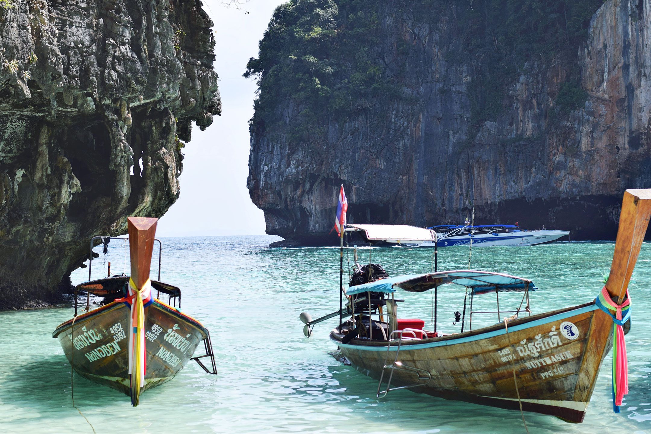 Boats docked in the Phi Phi Islands