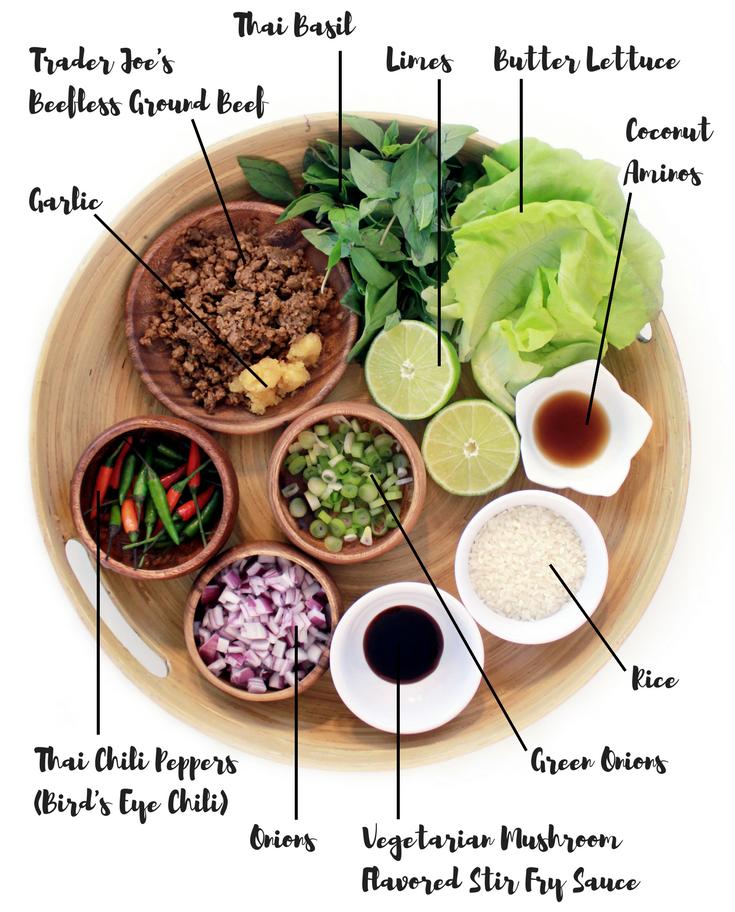 Ingredients for my Vegan Thai Pad Ka Prao Lettuce Wraps recipe!