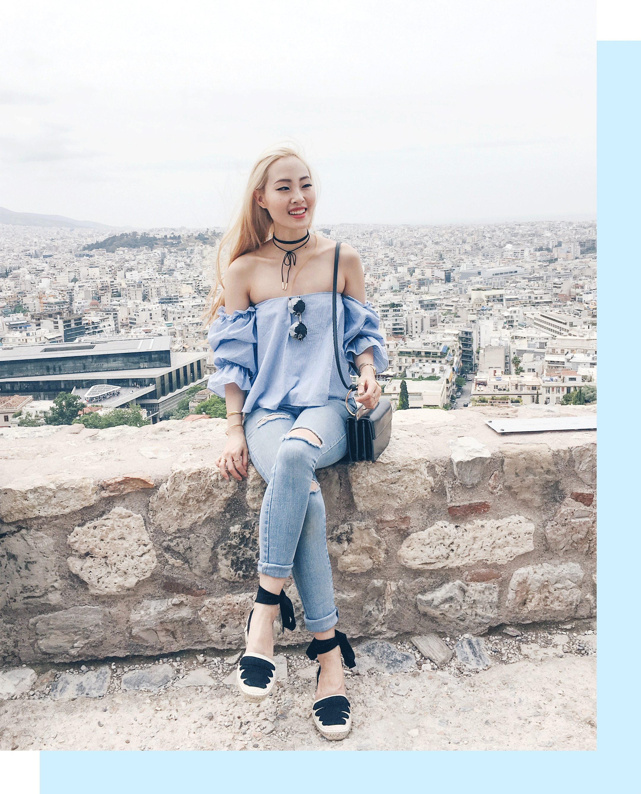 This is the first look from my trip to Greece this month! My Athens #traveloutfit was all about feeling chic yet practical. Comfy espadrilles were key for all the walking, a good pair of denim for comfort, and a flowy OTS blouse to keep cool. Check out the outfit details on the blog! | #lookbook | #summerstyle | #shopthelook | #summerfashion | What to wear in Greece | #ootd | Athens outfit