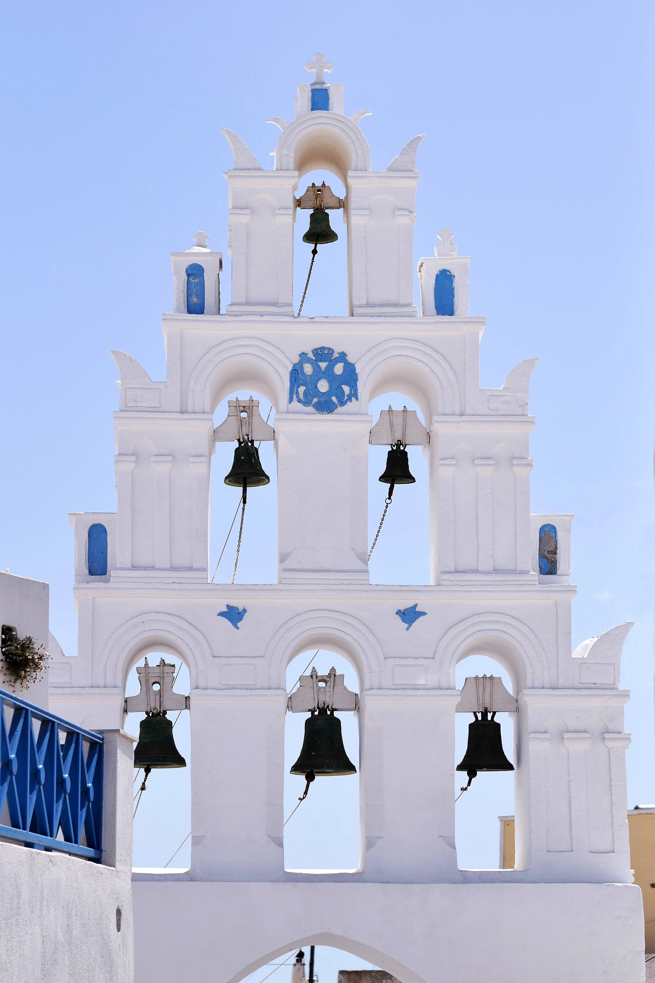 The bell tower in Megalochori, Santorini