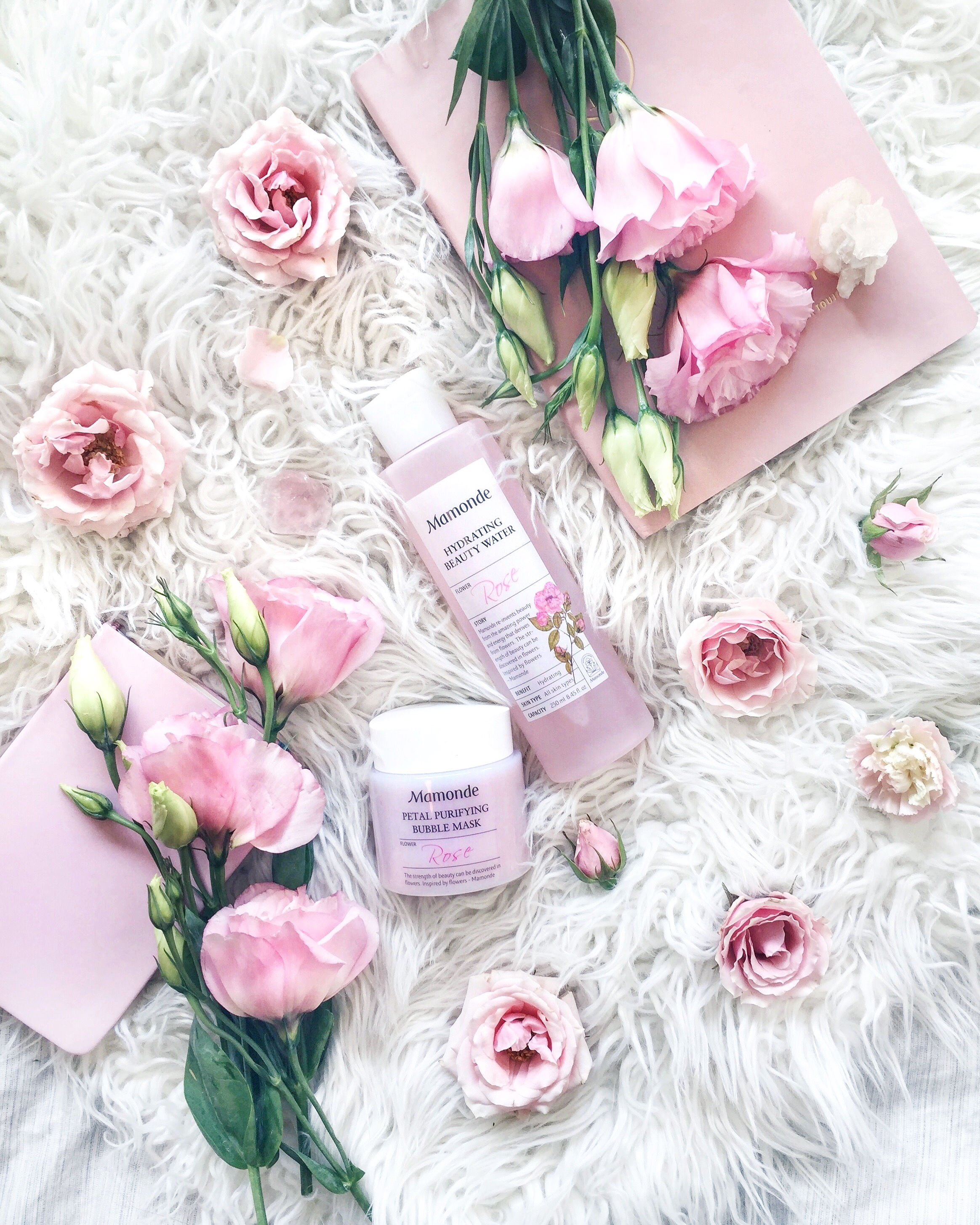 MAMONDE - These smell like a beautiful bouquet of roses and they're made from natural ingredients and real rose petals! I'm all about using natural skincare products, and Mamonde always makes the best!1. PETAL PURIFYING BUBBLE MASKThis was also in my last month's favs but I'm still obsessed! It's the best 1-minute mask I've ever used. The rose scent is tantalizing, the bubbling effect is so fun, and the instant results are perfect for busy mornings!2. HYDRATING BEAUTY WATERThis is an amazing toner that preps, tones, nourishes, and hydrates your skin! It's also made from 100% organic damask rose, and smells like a beautiful rose garden! I use it right before serums.