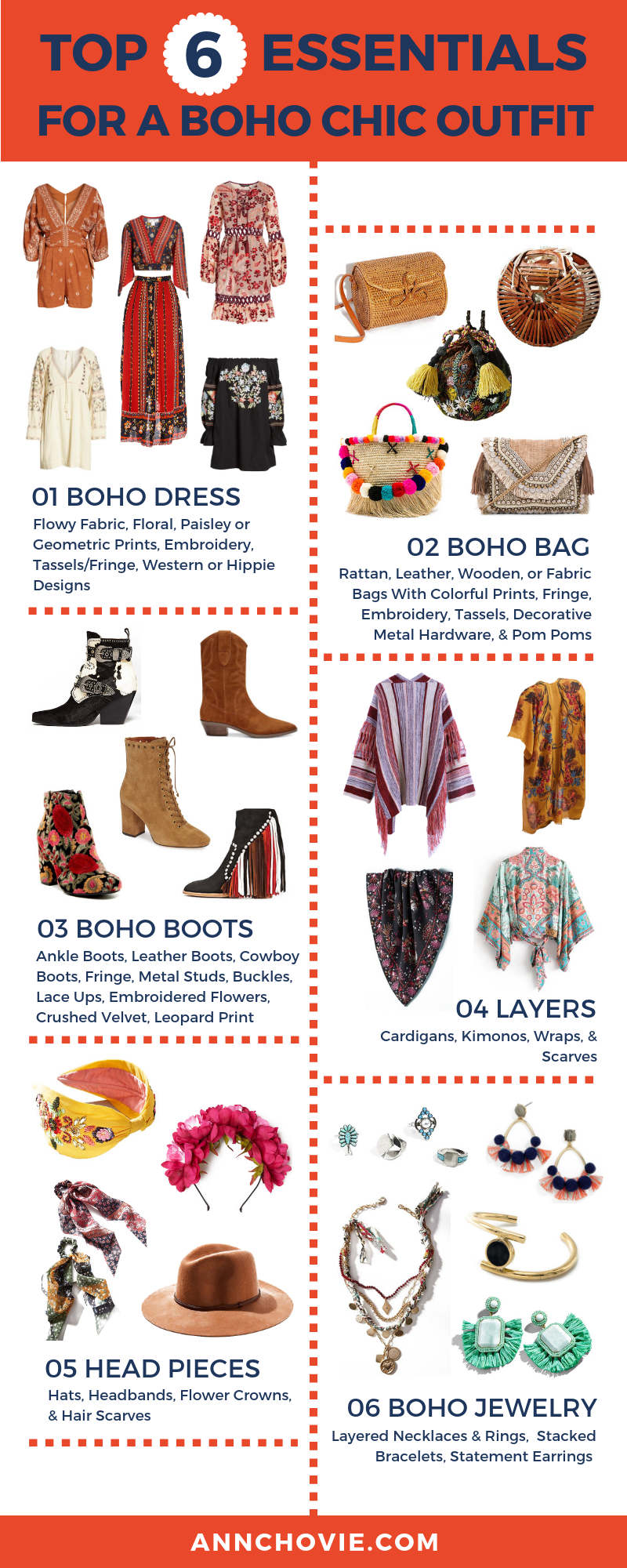 One of my favorite styles is free-spirited, Bohemian fashion. I've broken down the elements to rocking the boho chic look for fall to make it easy peasy. Check out the top 6 essential pieces to pulling together your boho look, with descriptions and curated picks that you can shop! | #bohostyle | #bohofashion | Bohemian Wardrobe Essentials | #falloutfits | #fallfashion | #bohodress | Hippie Style |