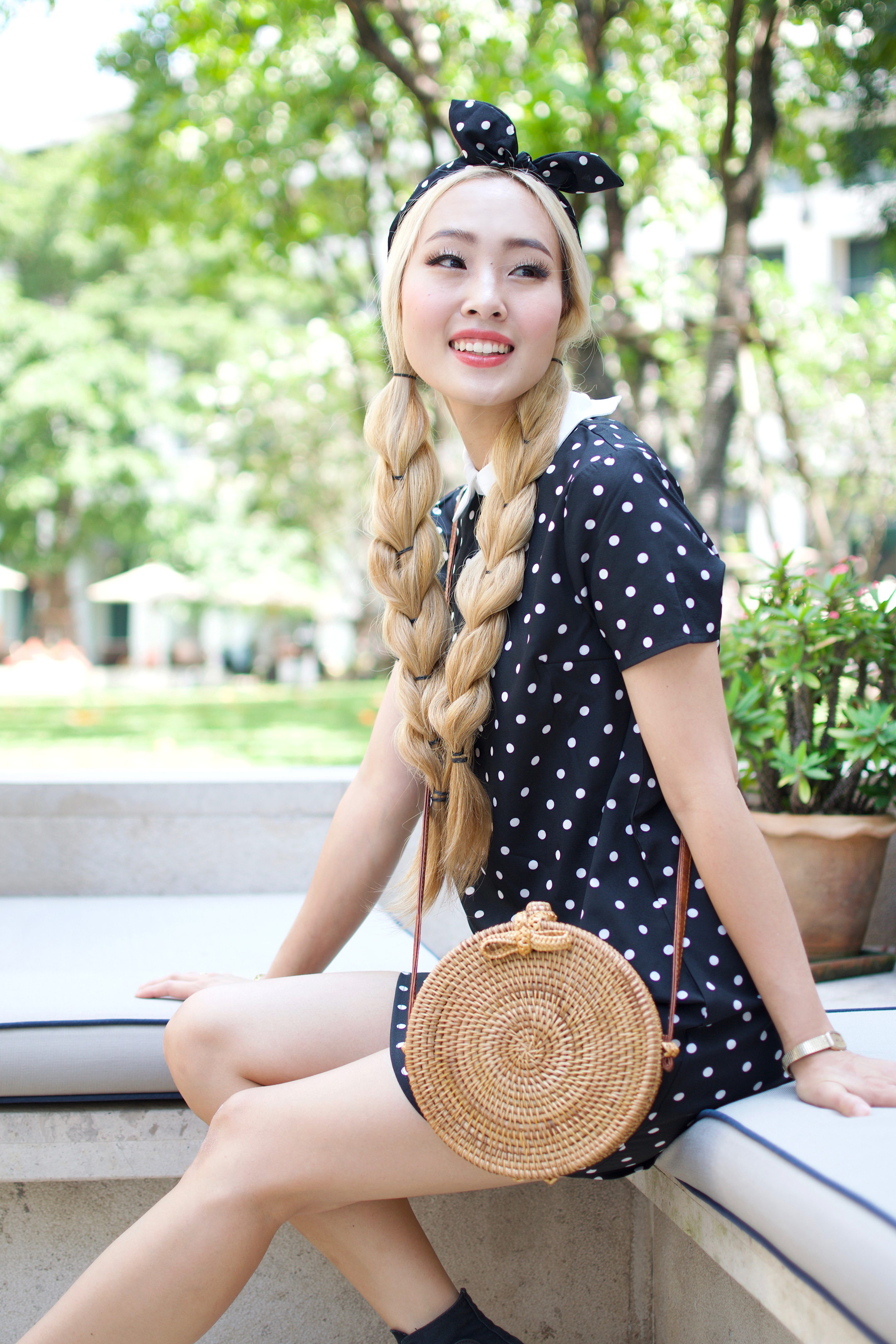I have a love affair with the polka dot fashion trend, and there's no denying it! From oversized dots, to barely there itty-bitty dots, polka dots of all sizes are here to stay. You can shop my exact look as well as some of my current favorite polka dot pieces! | #ontheblog | #ootd | #travelThailand | #traveloutfit | #Bangkok | #visitThailand | #summerfashion | #polkadotdress | #polkadotoutfit
