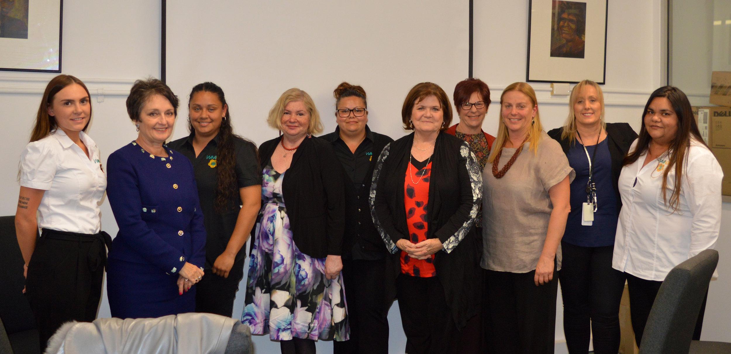 The Nabu and MacKillop Teams/Partnership meeting with Minister Goward and Shelley Hancock at Waminda