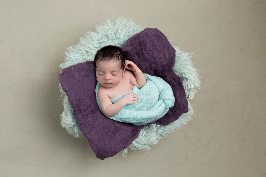 bay girl newborn photographer baby photos gold coast jade read photography purple green brown neutral teal aqua minimalist felted