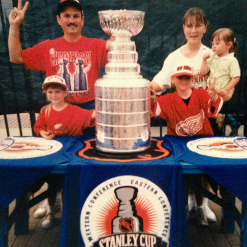 Me and my beloved family getting to touch the second of the Detroit Red Wings' back-to-back Stanley Cups in 1998.