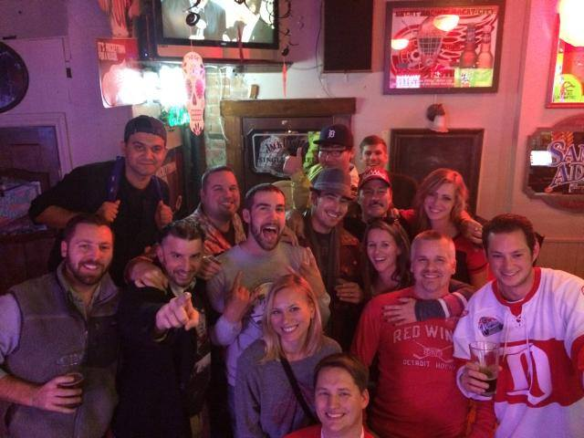 Some post-game fun celebrating a Detroit Red Wings win at The Detroiter in 2014.
