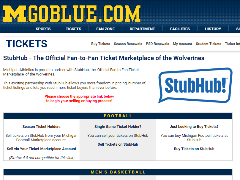Screenshot of Michigan's ticket platform on its website promoting its official partnership with StubHub,http://www.mgoblue.com/tickets/marketplace.html