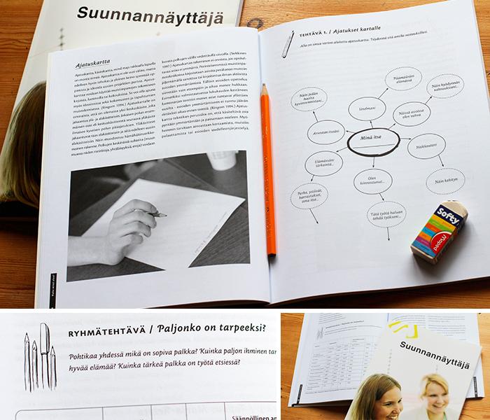 Suunnannäyttäjä-harjoituskirja (Spring House Oy): ulkoasun suunnittelu ja taitto, vinjettikuvitukset.