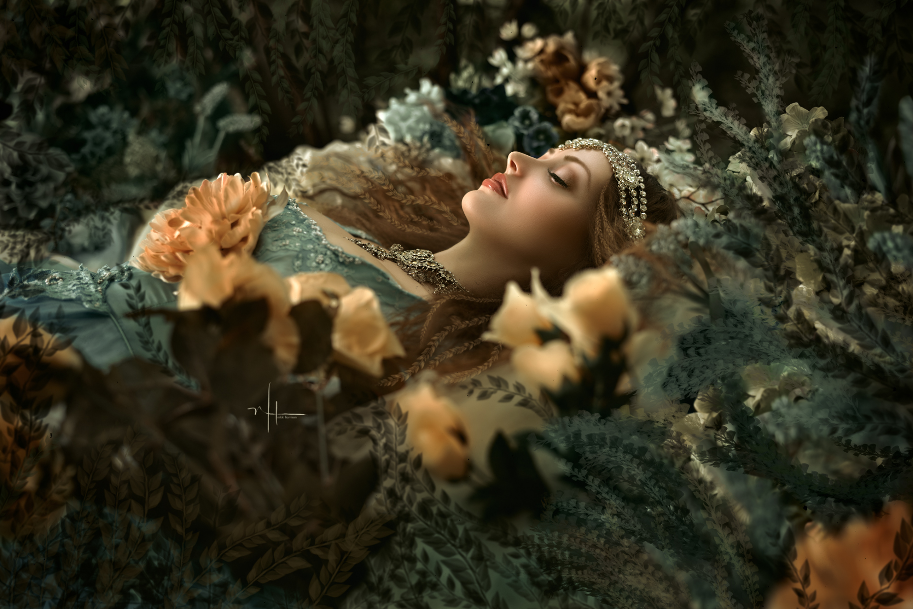 She lay in a bed of flowers, vines and sweet dreams…