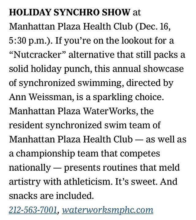 🧜🏼‍♀️💦Exciting news! Our annual show is in the @nytimes  Come see what it's all about this Saturday at 5:30pm 💦🧜🏼‍♀️